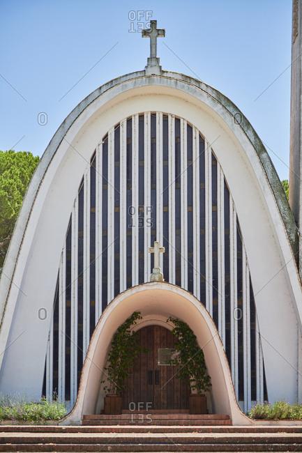 Pegoes, Portugal - July 25, 2019: Santo Isidro Church exterior