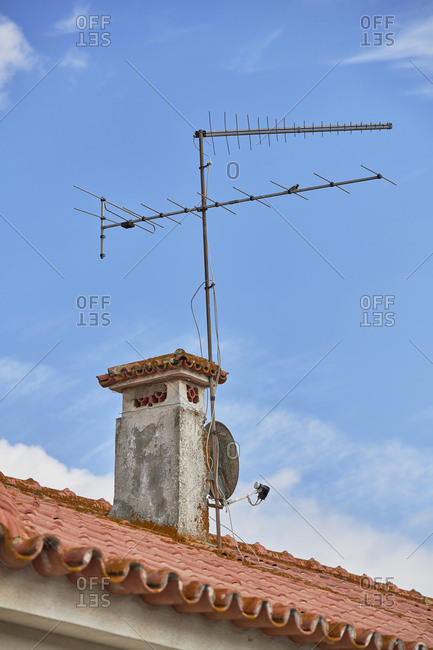 Two generation antennas on rooftop in Pegoes, Portugal