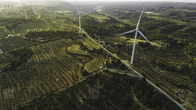 Aerial view of windmills