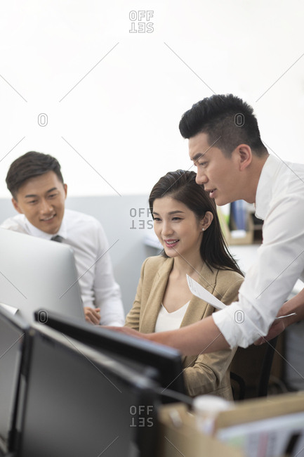 Chinese business people working in office