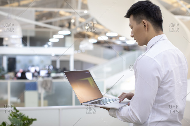 Young Chinese businessman using laptop in office