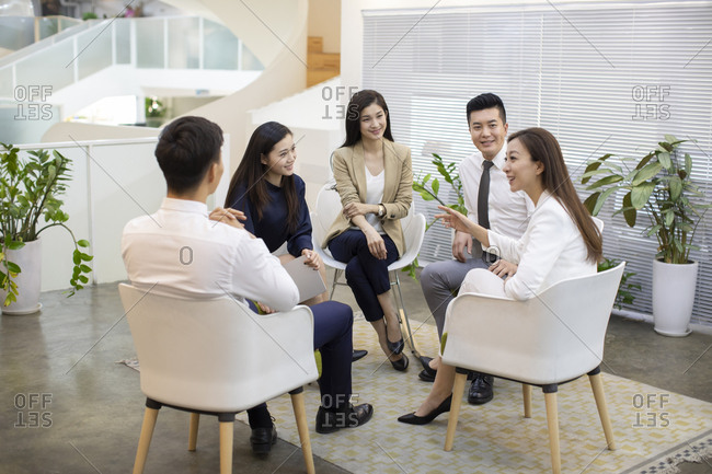 Chinese business people having a meeting in office