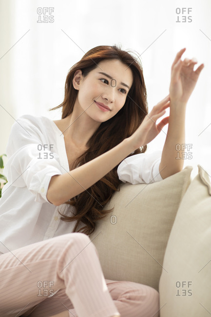 Young Chinese woman and skin care