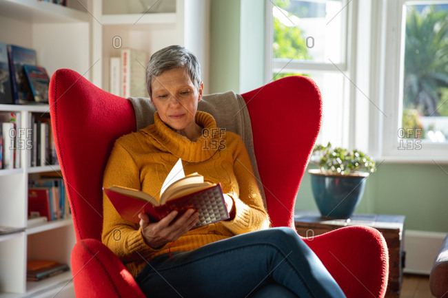 Front view close up of a mature Caucasian woman with short grey hair sitting in a red armchair in her living room reading a book