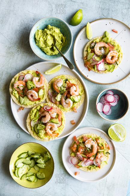 Homemade shrimp tostadas