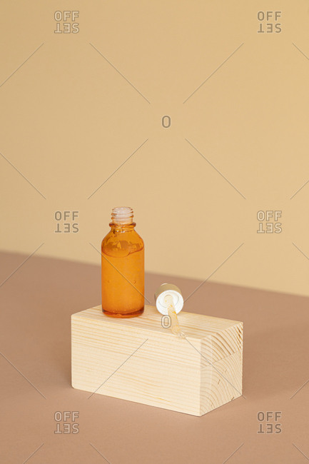 Minimalistic composition of natural soaps on wooden cubes.