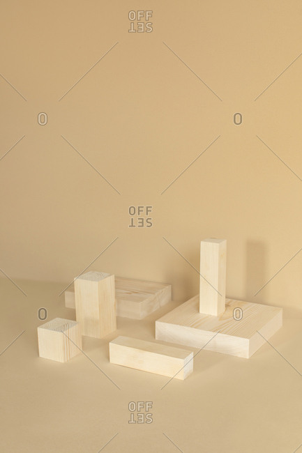 Minimalistic composition of wooden cubes.