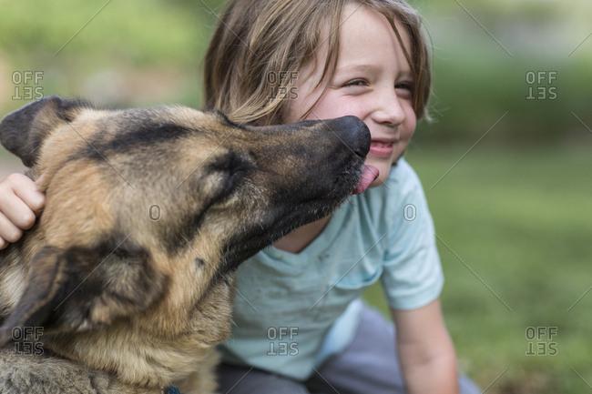 5 year old boy being kissed by his German Shepherd dog
