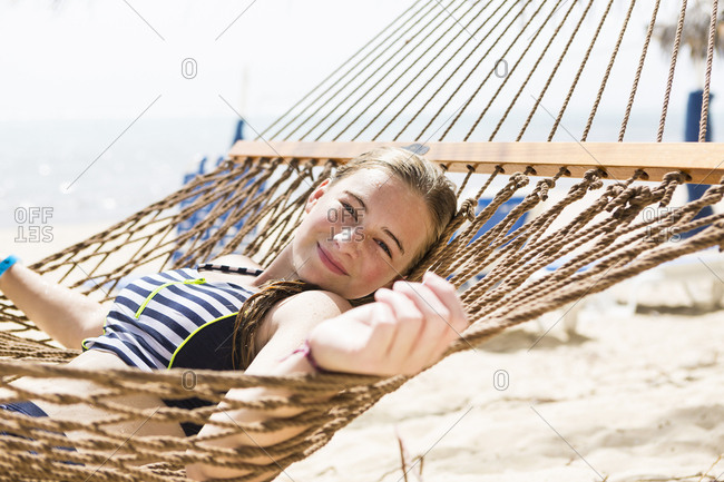 A teenage girl in hammock
