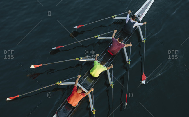 High angle view of unrecognizable male crew racers, Lake Union, Seattle, Washington