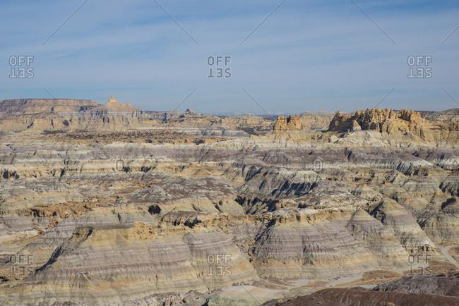 View over Angel Peak Scenic Area in northwest New Mexico