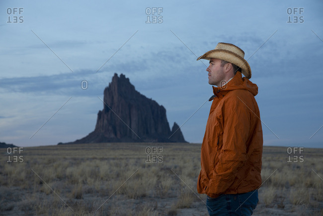 Cowboy at Shiprock Pinnacle in Farmington, New Mexico
