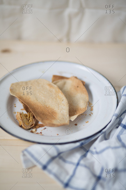 Crunchy and flaky food on a plate