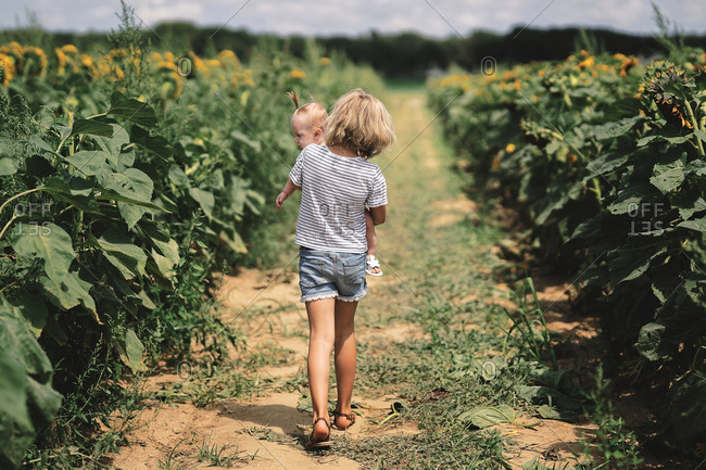 Rear view of girl carrying baby sister through a sunflower field