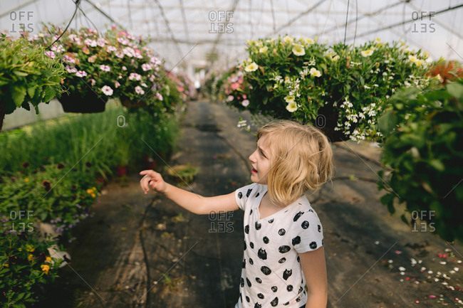 Young girl looking at flowers in a greenhouse