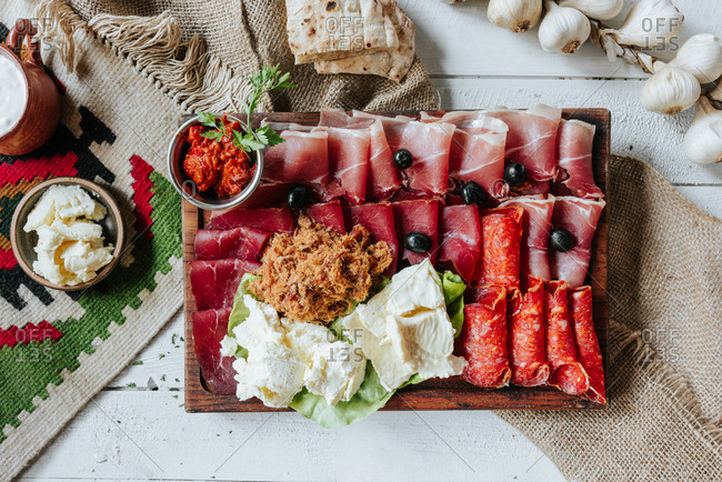 Cheese and cured meat plate