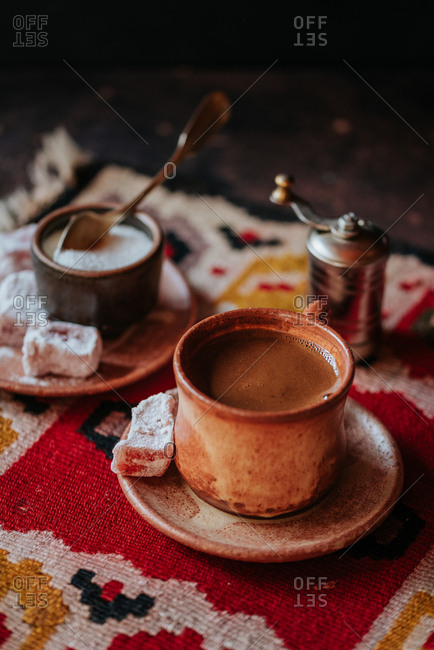 A cup of homemade Turkish coffee