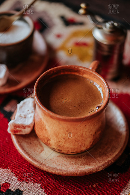 Close up of a cup of homemade Turkish coffee