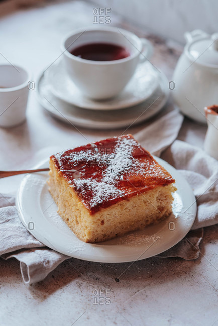 Slice of traditional Macedonian cake tres leches