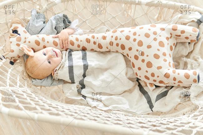 Cute baby cuddling with giraffe stuffed animal in mesh swing