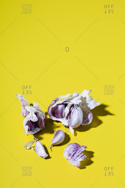 Garlic on yellow background - Offset