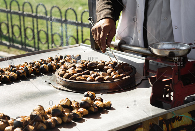 Charcoal fried chestnuts