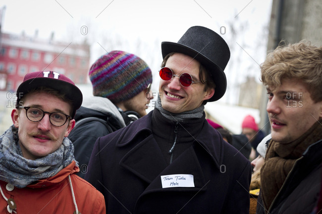 February 23, 2013: Young men at the Hipster Winter Olympiale in Berlin, Germany