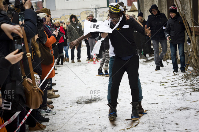 February 23, 2013: People compete in a skiiing event at the Hipster Winter Olympiale in Berlin, Germany