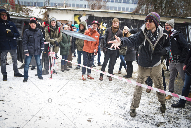 February 23, 2013: The vinyl throwing competition at the Hipster Winter Olympiale in Berlin, Germany