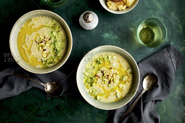 Broccoli Pistachio White Bean Soup Ready To Eat