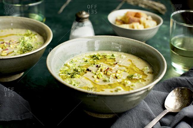 Delicious Broccoli Pistachio White Bean Soup