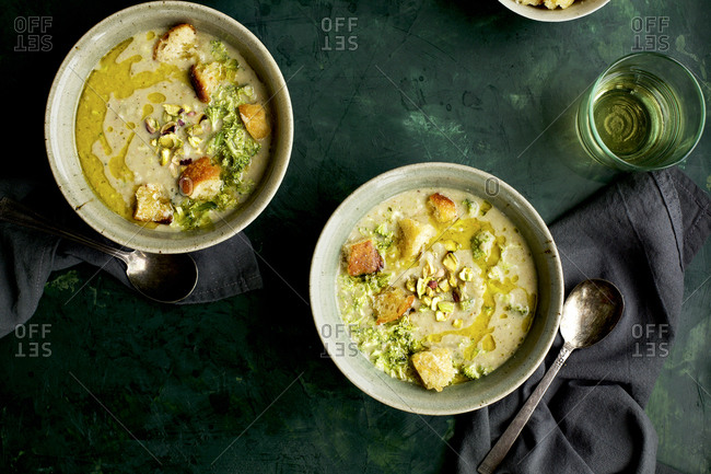 Broccoli Pistachio White Bean Soup With Croutons