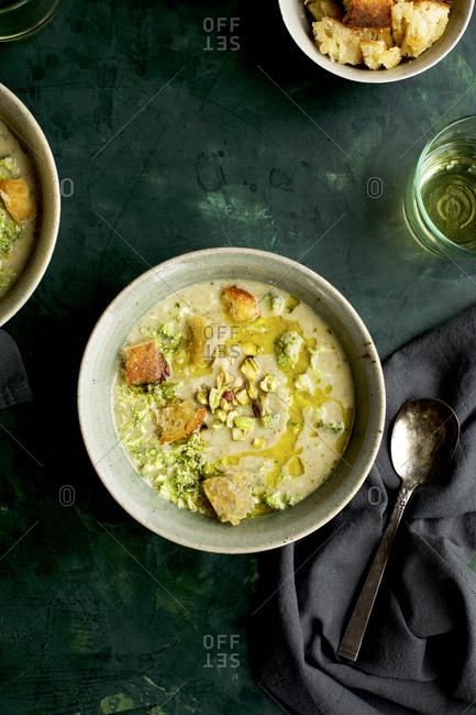 Broccoli Pistachio White Bean Soup Top View