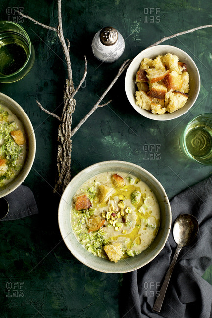 Broccoli Pistachio White Bean Soup On The Table