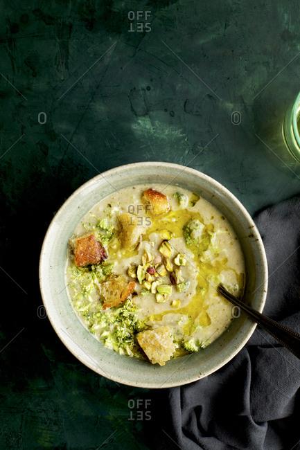 Homemade Broccoli Pistachio White Bean Soup