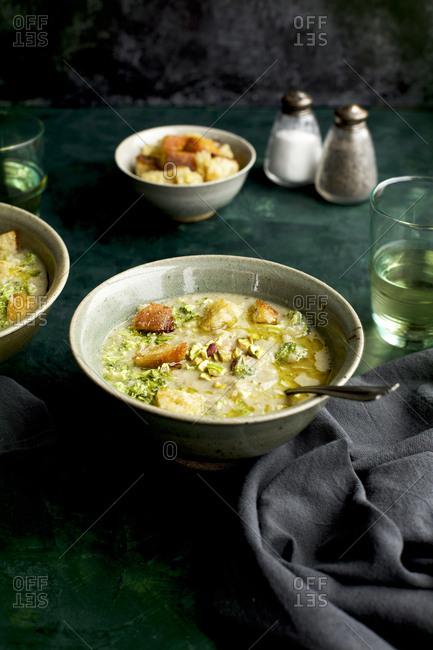 Broccoli Pistachio White Bean Soup For Dinner