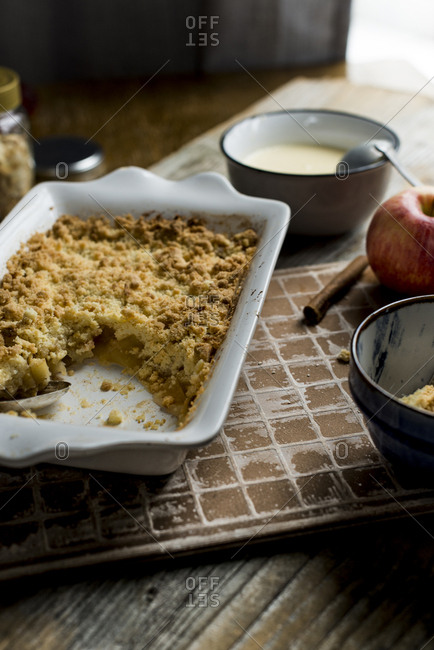 Overhead view of a hot apple crumble ready to serve