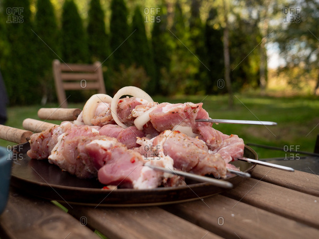 Pork for a barbecue on a table