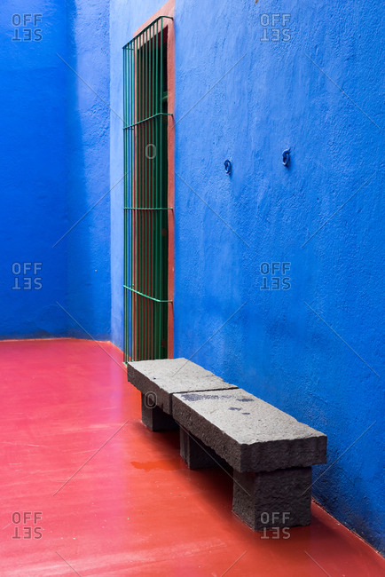 Mexico City, Mexico - July 25, 2019: Details of the courtyard at the Museo Frida Kahlo, also known as the Casa Azul, or Blue house.