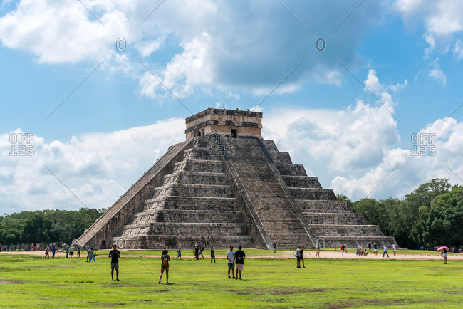 Yucatan, Mexico - September 9, 2019: Tourist visiting the Mayan pyramid of Chichen Izta
