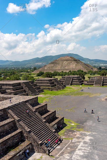The Moon square viewed from Pyramid of the Moon. Teotihuacan, Mexico