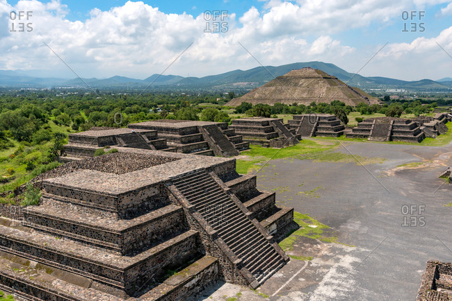 Aerial view of the Avenue of the Dead and Pyramid of the Moon. Teotihuacan, Mexico