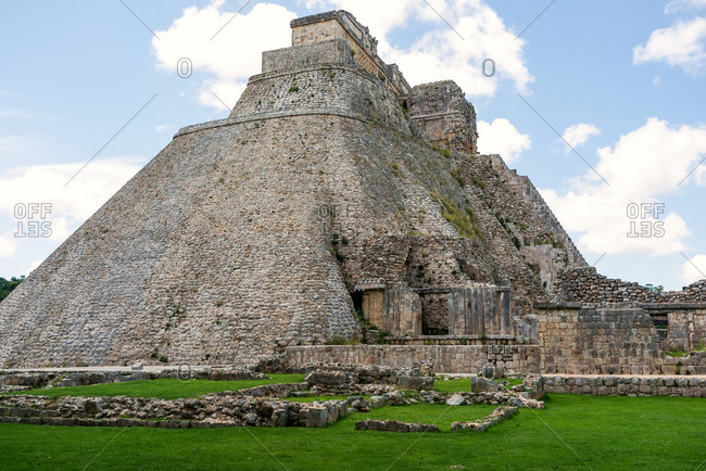 The Pyramid of the Magician in the ruins of Uxmal. Yucatan, Mexico