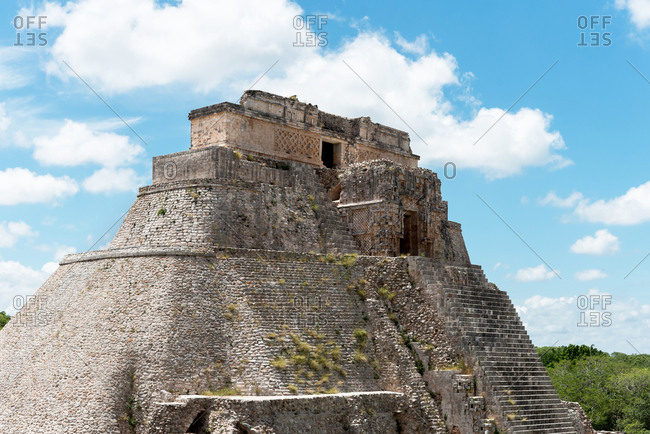 The Pyramid of the Magician in the ruins of Uxmal. Yucatan , Mexico
