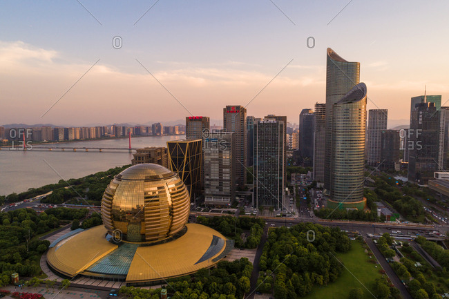 September 23, 2019: Hangzhou qianjiang new city landscape
