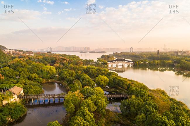 September 23, 2019: Taihu lake wetland park and urban landscape