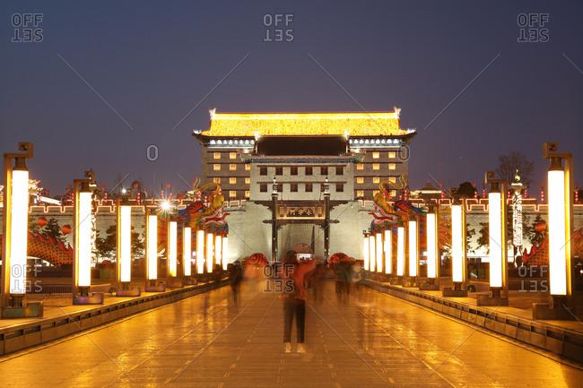 September 23, 2019: Xi 'an walls at night