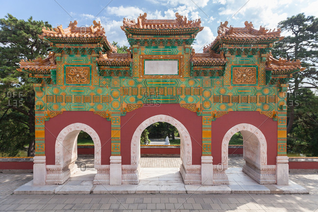Beijing xiangshan park colored glaze memorial archways