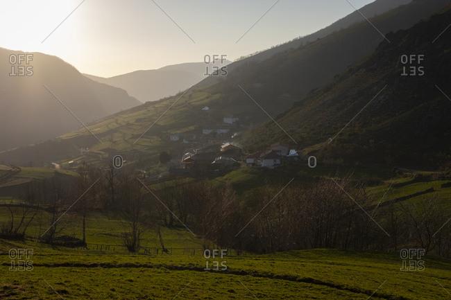 Village of Xinestosu at sunset, Asturias, Spain
