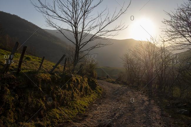 Path leading to Xinestosu village, Asturias, Spain
